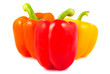 Orange, red and yellow peppers on a white background