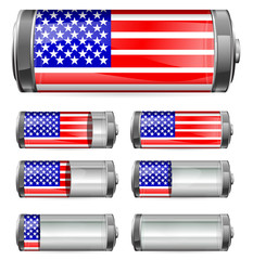 abstract america battery with different levels of charging