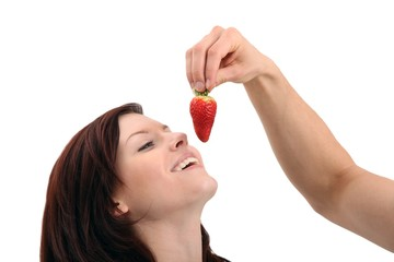 couple with a strawberry (white background)