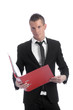 young handsome businessman with files