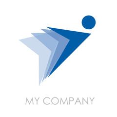 Logo Man in flight, pony express # Vector