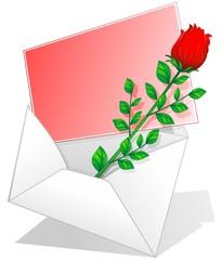 Rosa Rossa Biglietto Amore-Red Rose Love Letter-Vector