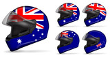 set of australia motorcycle helmet isolated on white background