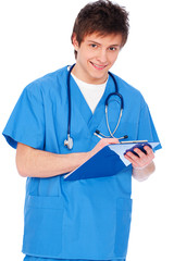 young nurse boy with notepad