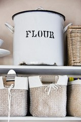 Close-up of a flour container