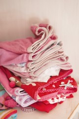 Close-up of folded clothes