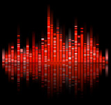red digital sound equalize isolated on black background