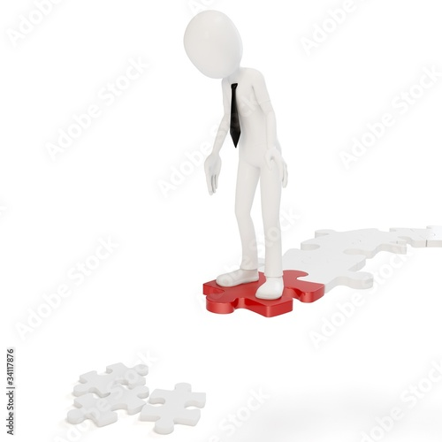 3d man whit interrupted path of puzzle