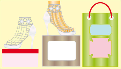 Pair of high-heeled female shoes  isolated on yellow background