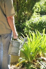 Mid section view of a mature man watering plants in a garden