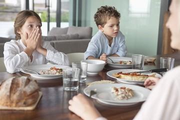 Family having food