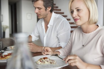 Couple having food