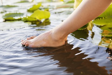 Close-up of a woman's leg in pond