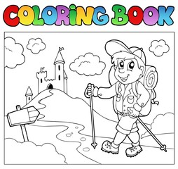 Coloring book with hiker boy