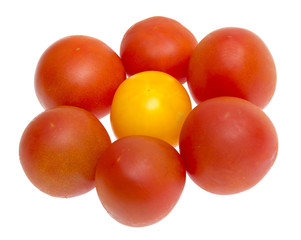 Red and yellow tomatoes isolated on a white