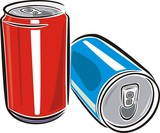 Red and Blue aluminum cans over white background