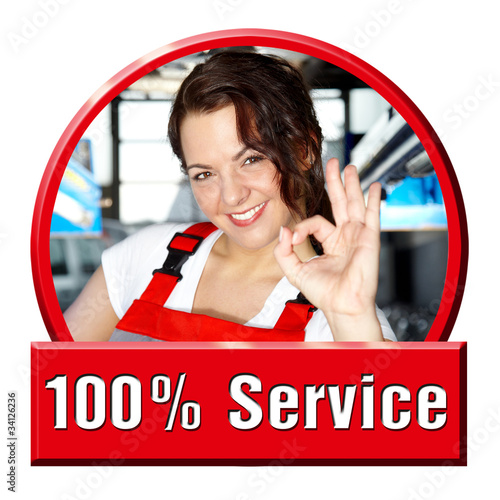 Female apprentice shows thump up for excellent service