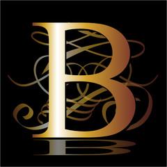 initial, gold, B