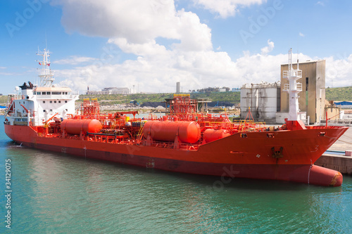 Chemical tanker moored in port