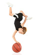 Young Girl Child Balancing Upsidedown on Basketball over White
