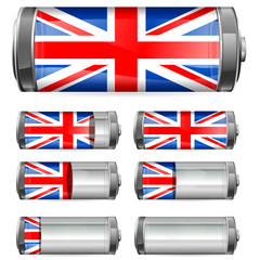 abstract UK battery with different levels of charging