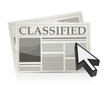 Newspaper classified ads page and cursor