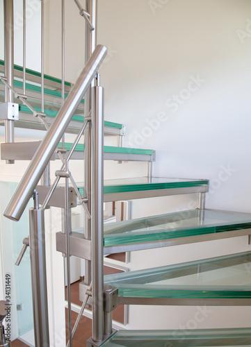 Leinwanddruck Bild Moderne Glastreppe