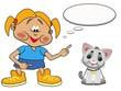 Mädchen mit Katze und Sprechblase