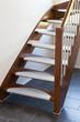 Leinwanddruck Bild - Holztreppe mit Edelstahl