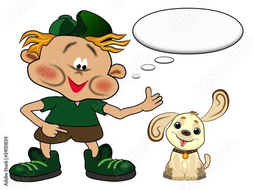 Junge mit Hund und Sprechblase