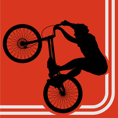 Professional trial mountain bike with rider vector background