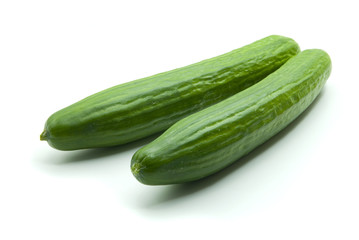 Two isolated cucumbers