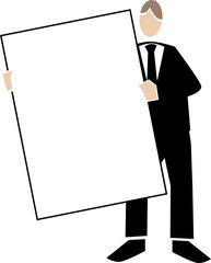 Symbolising business transparent white-man holding sign portrait