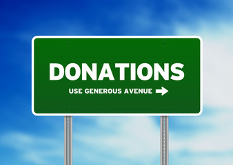 Donations Road Sign