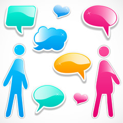 Colorful speech bubbles with girl and boy
