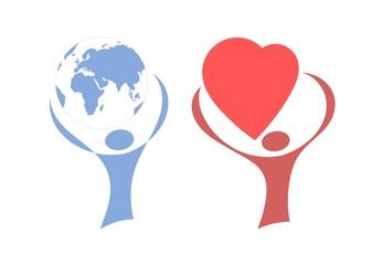 Человек, держащий в руках земной шар, сердце