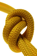 simple knot on double yellow rope