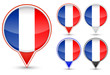 set of France buttons isolated on white background