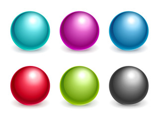 Variety of colored balls isolated on white background