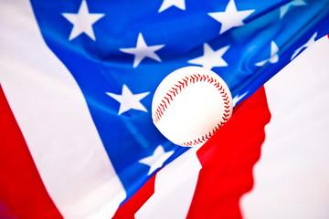 american flag and baseball ball