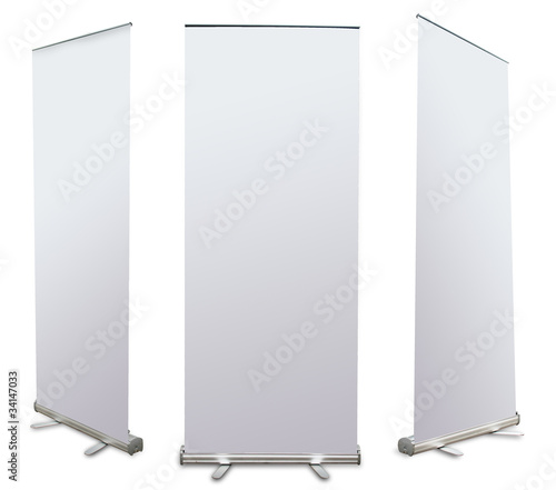 blank roll up banner display (3 view) template for design work