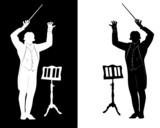 silhouette of conductor music stand poster