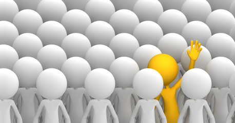 Concept of uniqueness. Character standing out from the crowd