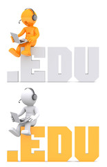 3d character sitting on .EDU domain sign. Isolated on white