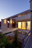 beautiful modern house by night