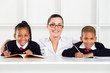 primary students and teacher