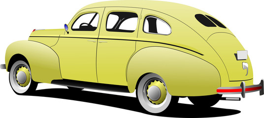 1950's Luxury sedan on isolated background. Vector illustration