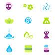 Wellness, spa & nature vector icons isolated on white, vector