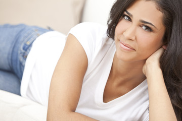Beautiful Girl Young Hispanic Woman Relaxing on Sofa