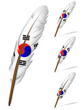 abstract korea flag feather isolated on white background